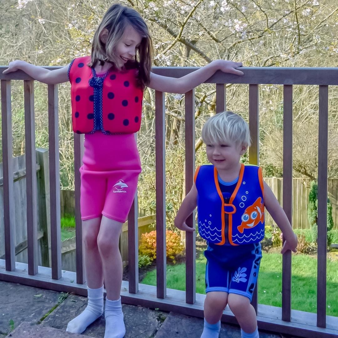 A photograph of a little girl and little boy wearing Konfidence UK swimwear - We're Konfidence UK Swimologist Ambassadors And Win a £50.00 Gift Voucher - Mrs H's favourite things