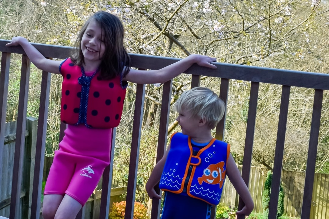 A photograph of a little girl and a little boy wearing Konfidence swimwear from Konfidence UK - We're Konfidence UK Swimologist Ambassadors And Win A £50.00 Voucher - Mrs H's favourite things