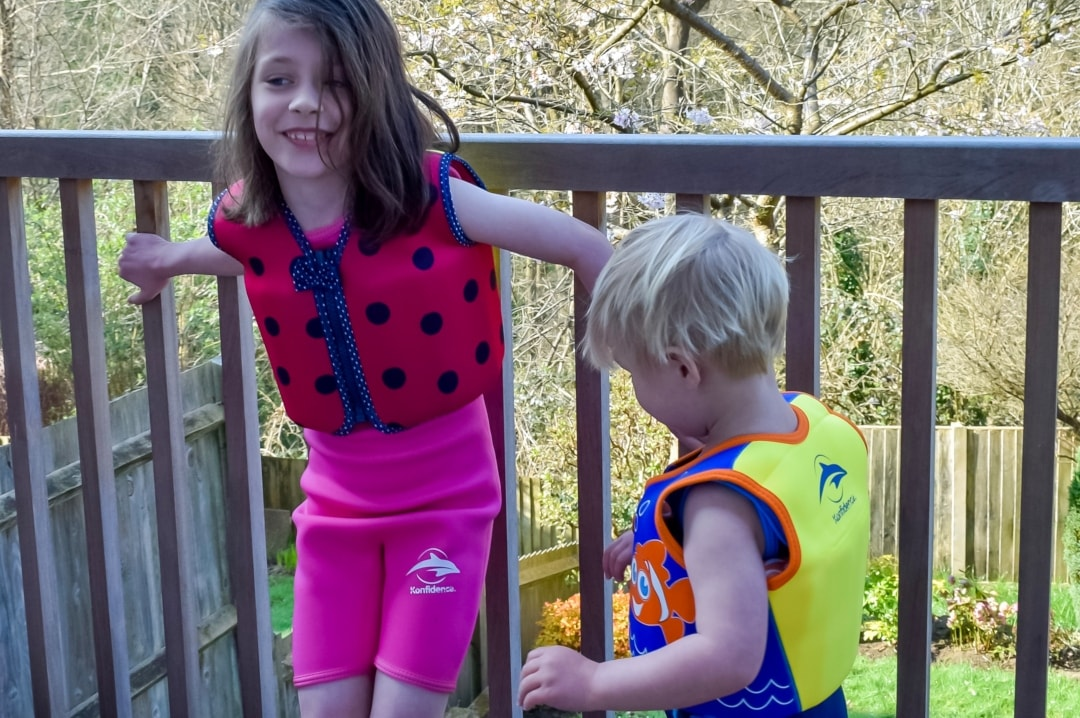 A photograph of a little girl and little boy wearing Konfidence UK swimwear - We're Konfidence UK Swimologist Ambassadors And Win a £50.00 Gift Voucher - Mrs H's favourite things