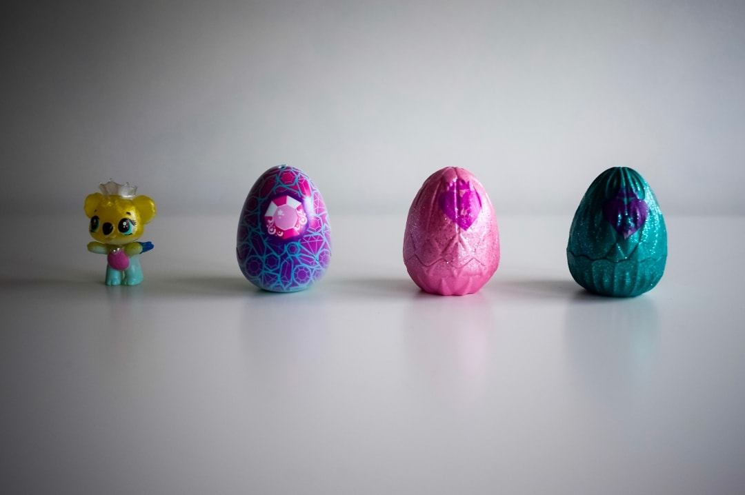 A photograph of the Hatchimals CollEGGtibles Hatchimal and three eggs from the Hatchimals Royal Snow Ball 4-Pack - Hatchimals CollEGGtibles Glitter Salon Playset - A Review - AD - Mrs H's favourite things