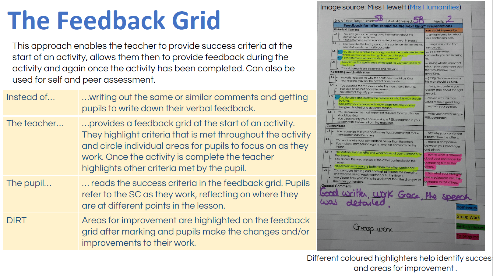updated marking feedback and dirt ideas mrs humanities