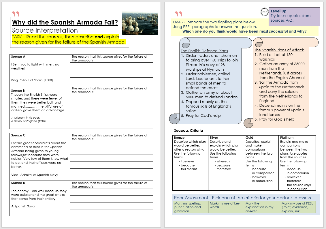 Resource Spanish Armada Double Lesson