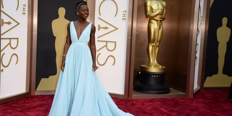 Lupita Nyongo blue prada dress at the Oscars 2014
