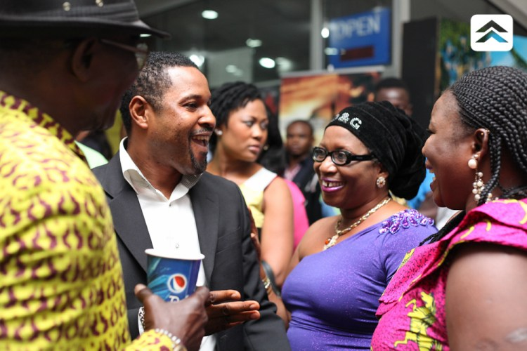 Akin Olaiya Saidi Balogun and Ayo Mogaji at The Courier movie premiere