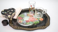 About the tray: Zhostovo painting (Жостовская роспись in Russian) is an old Russian folk handicraft of painting on metal trays, which still exists in a village of Zhostovo in the Moscow Oblast. It appeared in the early 19th century mainly under the influence of the Ural handicraft of flower painting on metal. Subsequent development of the Zhostovo painting handicraft was stylistically related to porcelain and enamel painting techniques, used by factories near Moscow, (Wikipedia)
