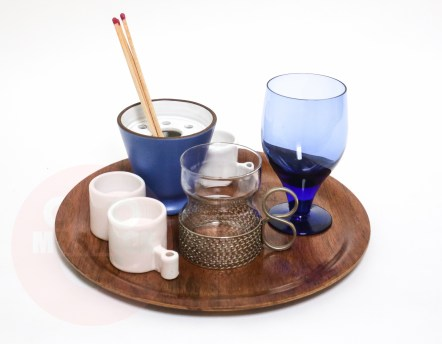 TRAY CANDLES & BLUE