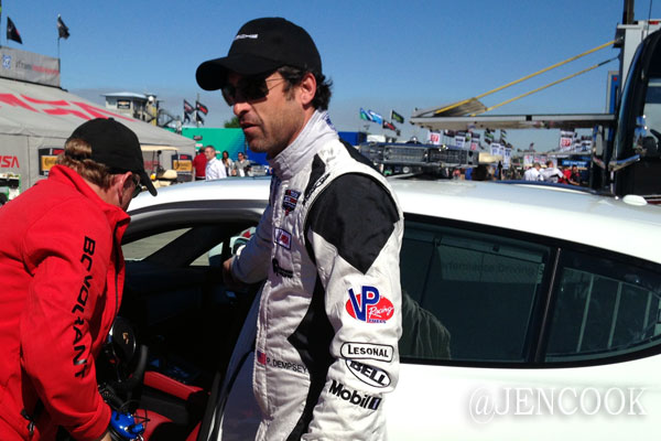 Patrick Dempsey preparing to drive around the track at Sebring.