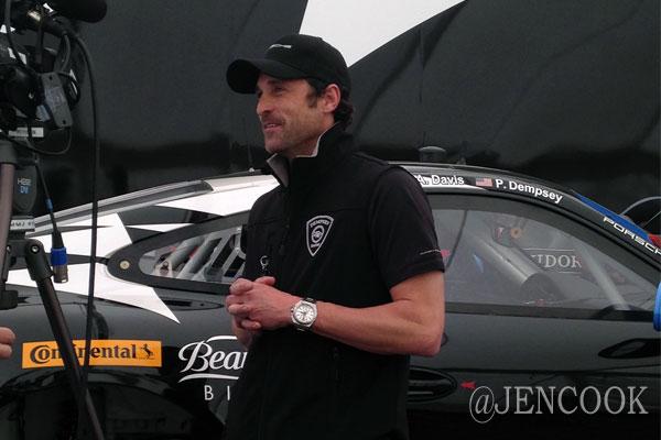 Interviewing Patrick Dempsey at Sebring International Raceway.