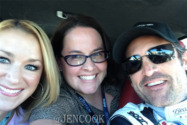 Patrick Dempsey poses for a selfie after driving News 13's Jen Cook and Allison Walker around the track at Sebring.