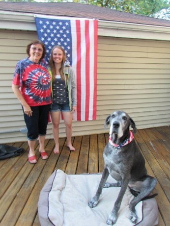 Aunt Nancy and Katie...and Penny of course, celebrate 4th of July!