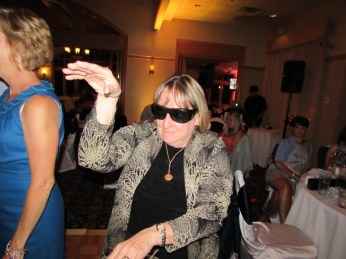 Mom getting her groove on with grandma's sunglasses!