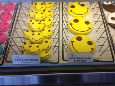 The happiness of a smiley face cookie.
