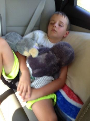 Sleeping in the car.
