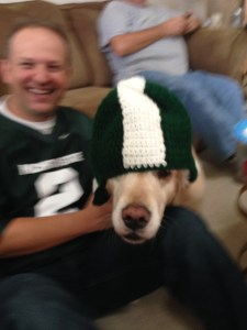 Maggie made a new friend, Jeff!  Go Green!