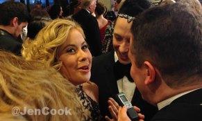 Tara Lipinski, Johnny Weir being interviewd on the WHCD red carpet