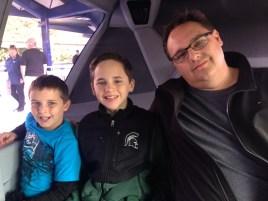 Riding the Disneyland Monorail.