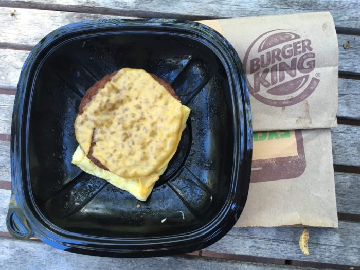 Low Carb Burger King Sausage Egg and Cheese Breakfast Sandwich
