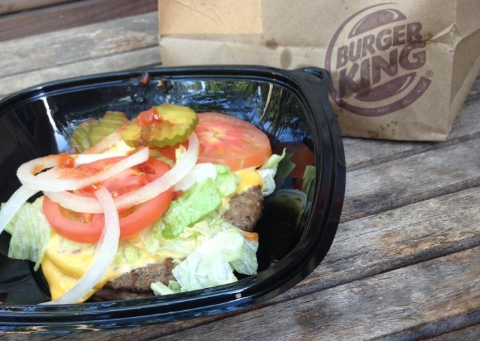 Low carb Burger King Double Whopper with Cheese and no bun.