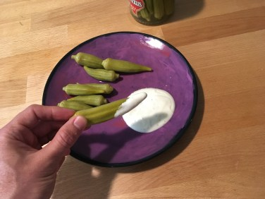 Keto Hot Pickled Okra and Ranch Plated