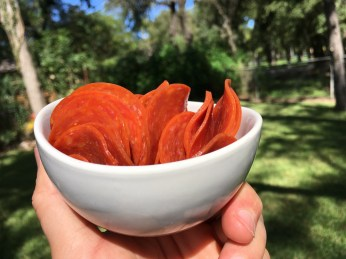 Keto Sliced Pepperonis in a Dish