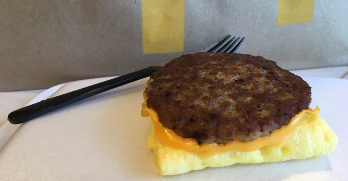 Low Carb McDonalds Breakfast Sandwich - Sausage Egg and Cheese Biscuit (No Biscuit)