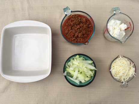 Low Carb Zucchini Lasagna Ingredients - Prepped