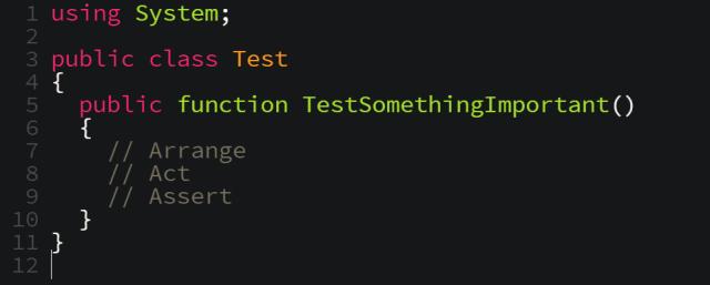 arrange, act, assert, code editor