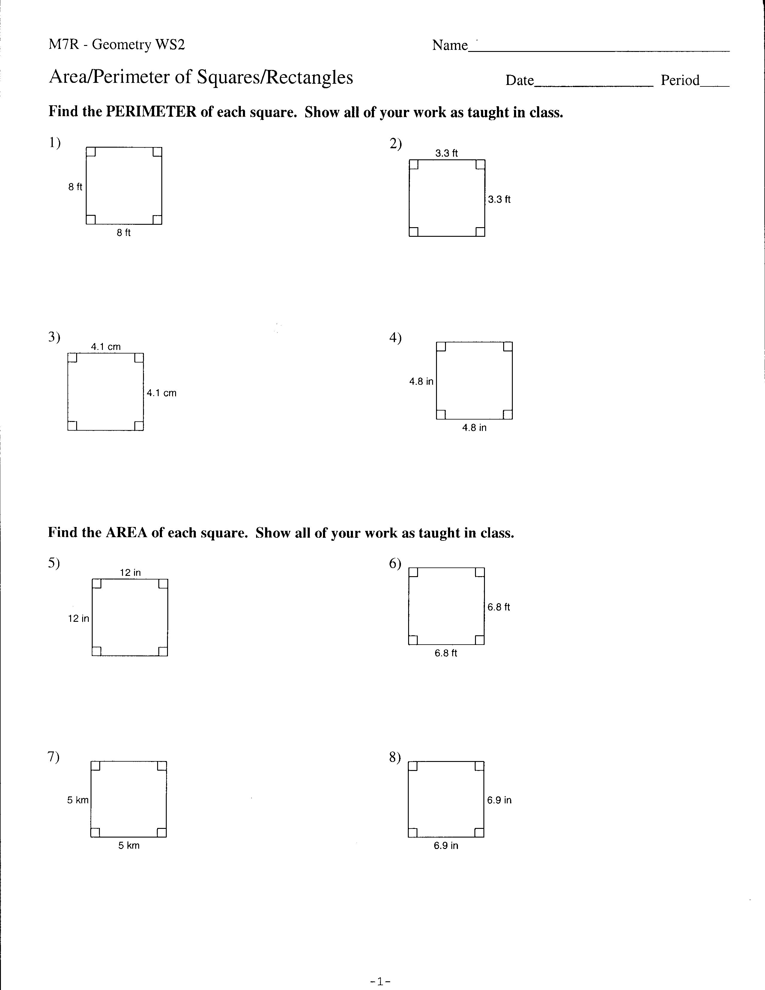 9th Grade Geometry Worksheets