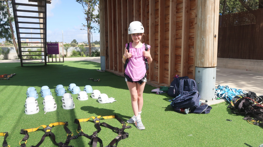 florence about to tackle the aerial course at the holiday village aliathon, cyprus