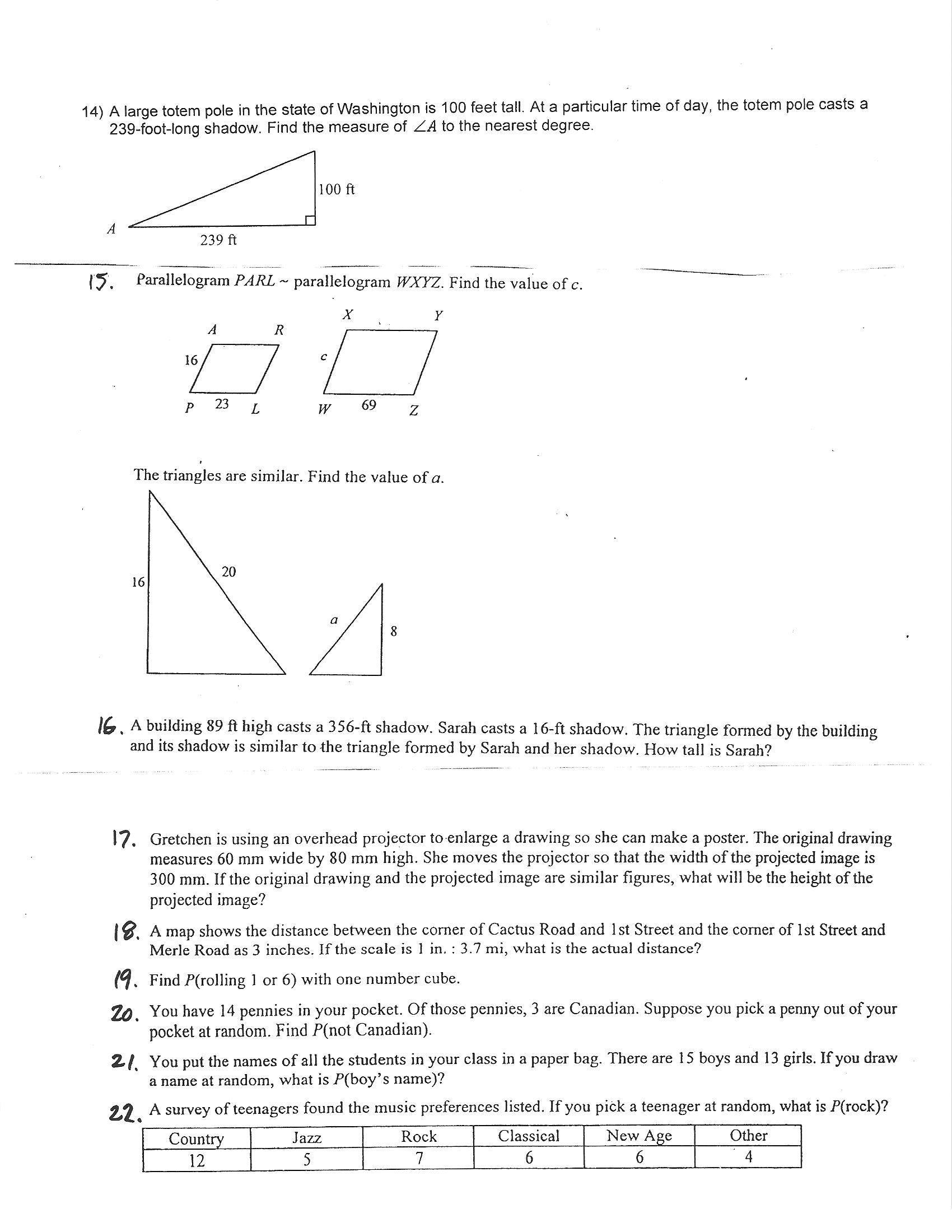 Math Models Worksheets