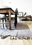 And here is a great example of setting a rug under a dining table, like Lisa teaches us so well.