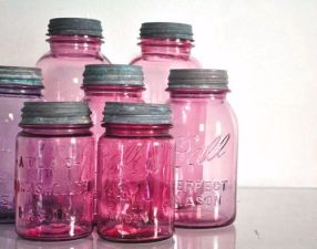 Beautiful pinkish hues of mason jars.