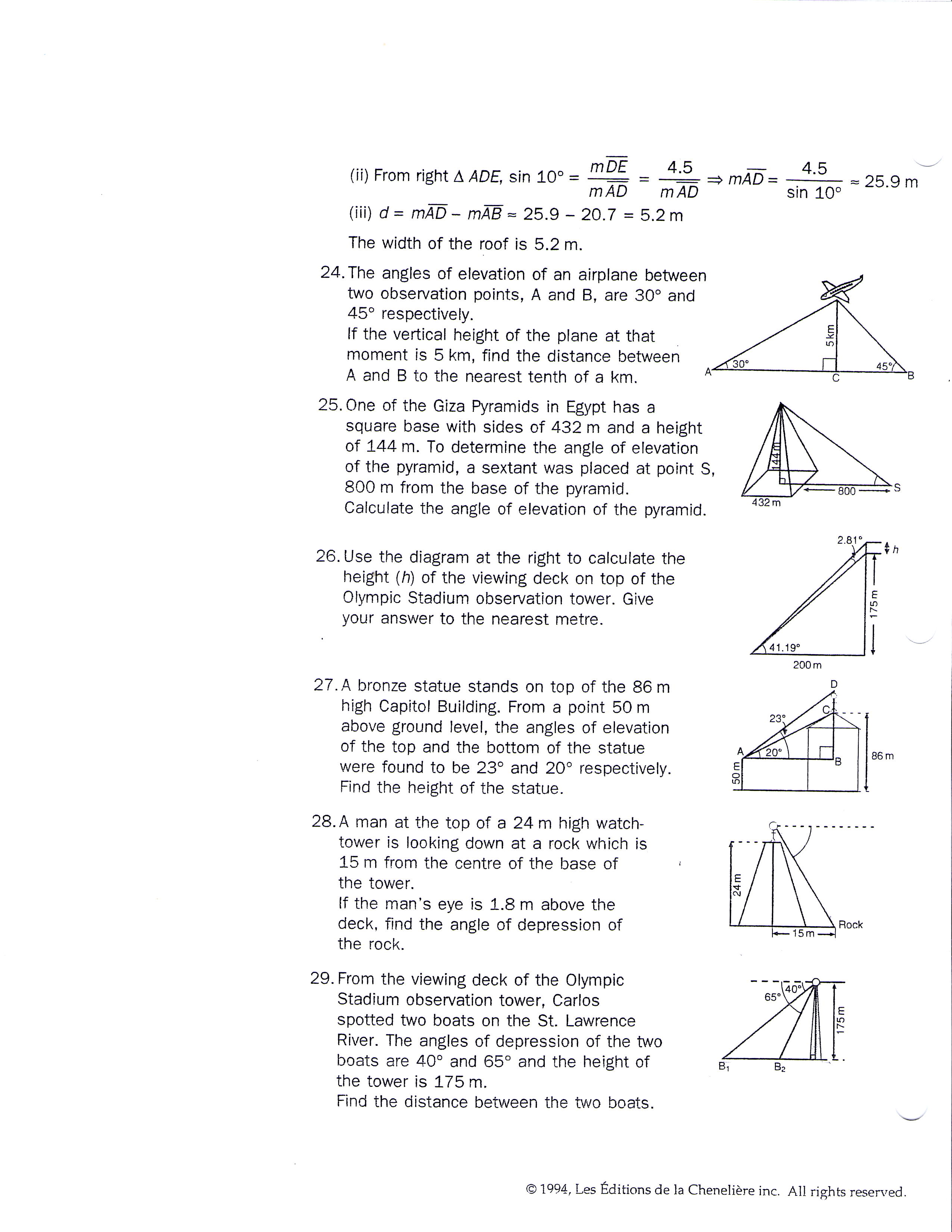 27 Trig Ratios Word Problems Worksheet