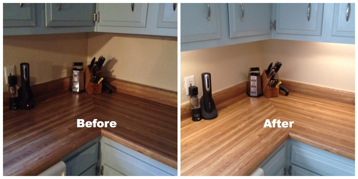 A before and after photo of a counter with under-cabinet lighting