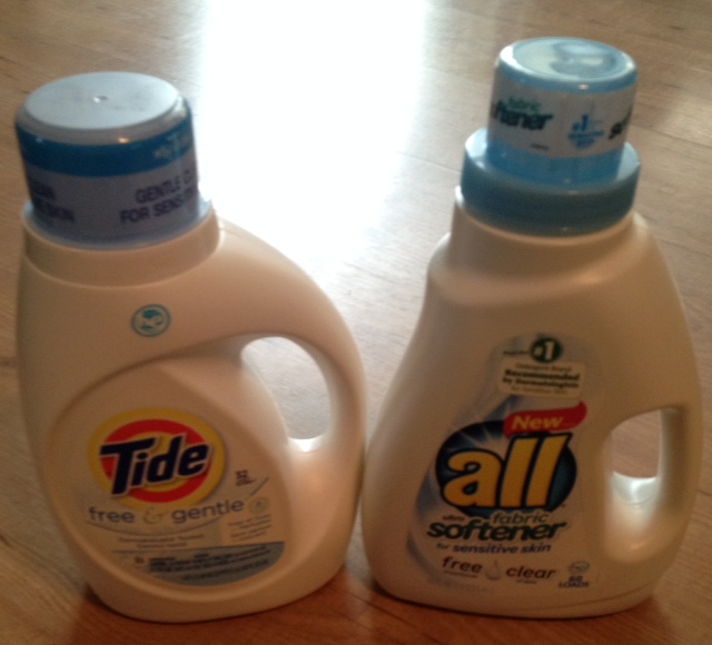 Tide and All laundry detergents, purchased with coupons
