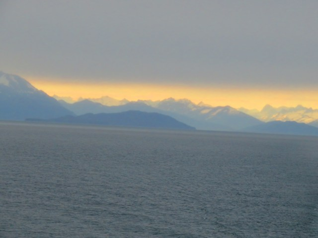 The sunset over the Canadian Rockies as we sailed away from Victoria, British Columbia.