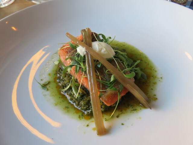 Salmon with seabean chimichurri at Eden Hill in Seattle.
