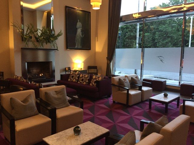 A lounge area in the lobby of the Fitzwilliam Hotel in Dublin, Ireland.