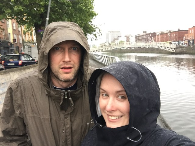 Raindrops near the Ha'Penny Bridge in Dublin