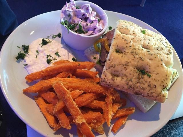 Steak sandwich from the Stena Plus Lounge
