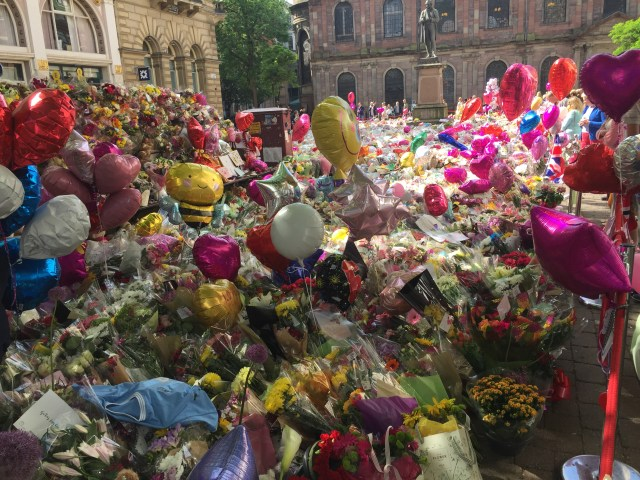 The memorial for the Manchester Arena bombing victims stretched on for multiple blocks.