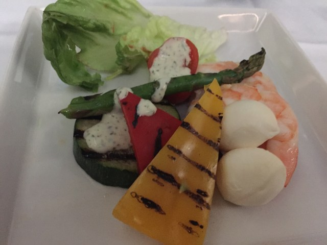 "The ""mediterranean antipasto"" starter on the light dinner service on Singapore Airlines MAN to IAH."