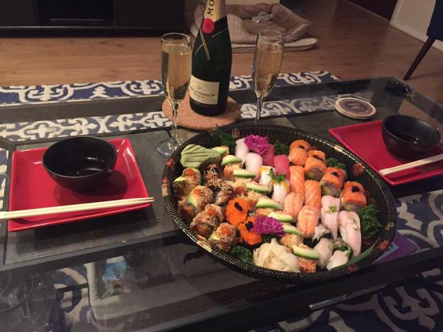 A sushi dinner for my Husband's 35th Birthday - all freshly prepared and delivered, thanks to Seamless!