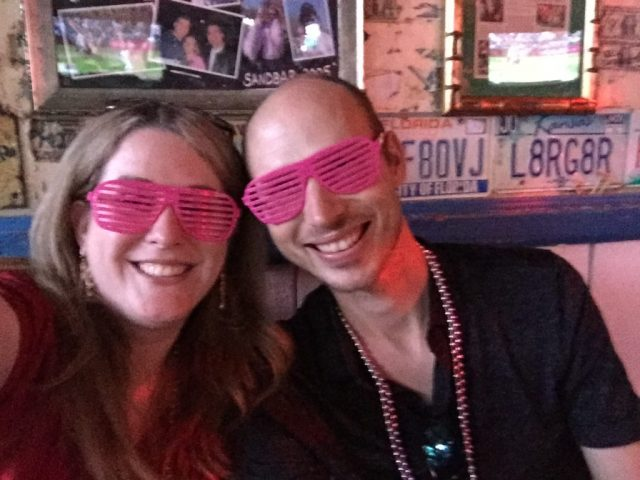 Drinks come with toys like sunglasses, beads, and lights at The Sandbar in Lawrence, Kansas.