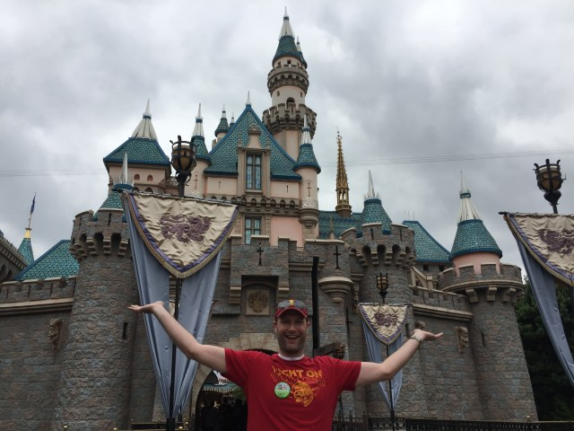 The hubby in front of Sleeping Beauty's Castle.