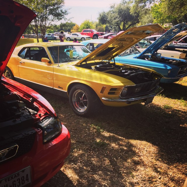 All the pretty Mustangs at the Classics Corral at the State Fair of Texas.