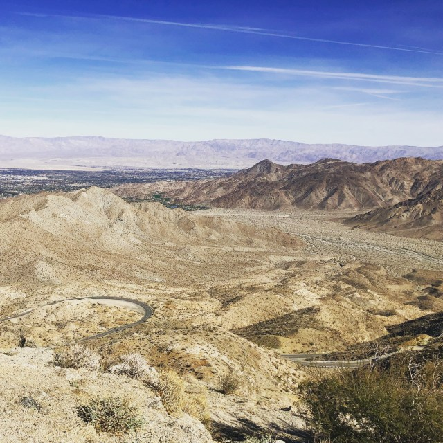 A view of the Coachella Valley, including Palm Springs, from the surrounding desert mountains.