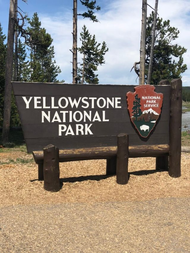 The entrance sign at the South Entrance of Yellowstone National Park