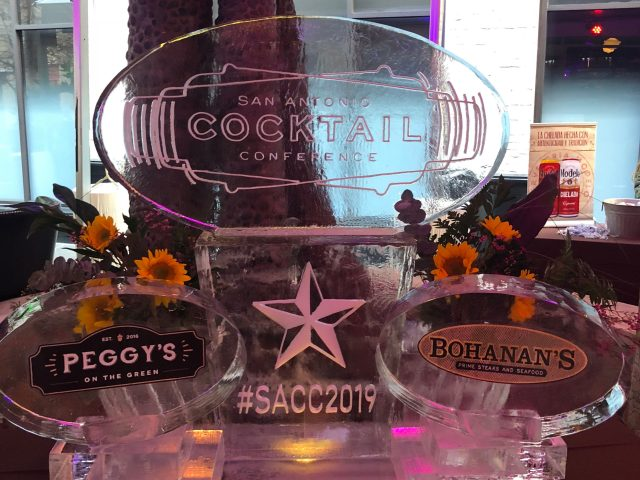 An ice sculpture at the San Antonio Cocktail Conference.