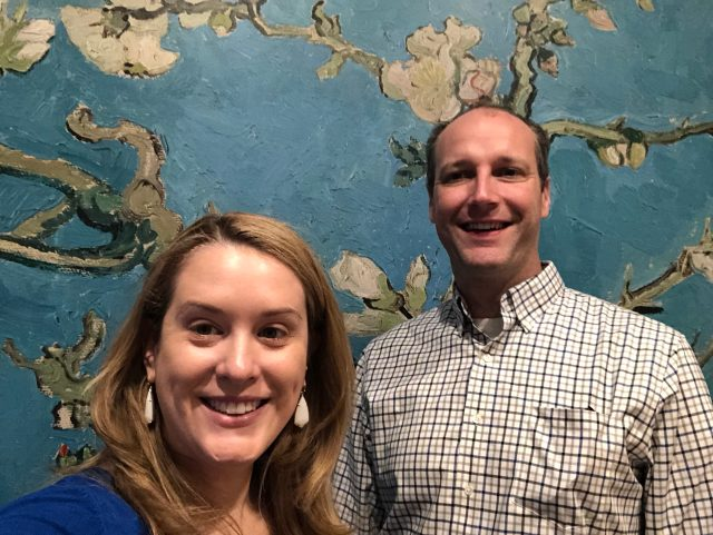 The hubby and me in front of a giant version of a Van Gogh painting to let you really see each brush stroke.